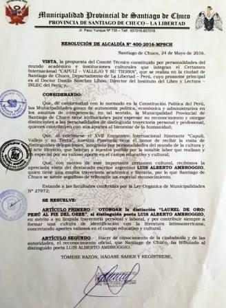 Resolucion de Santiago de Chuco a Luis Alberto Ambroggio